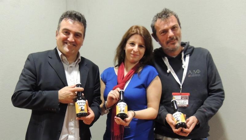 da sinistra Simone Monetti, direttore Unionbirrai, Barbara Bolzoni, Estrela Sas, Vittorio Ferraris del Birrificio Sant'Andrea