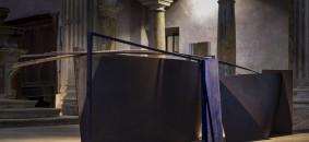 due luoghi 2009 ferro pigmento blu cm. 360x90x70